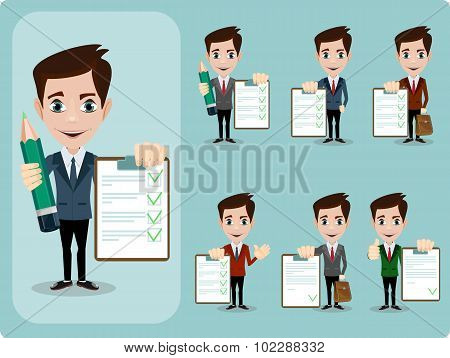 Friendly businessman leaning against contract blank, agreement giving the thumbs up