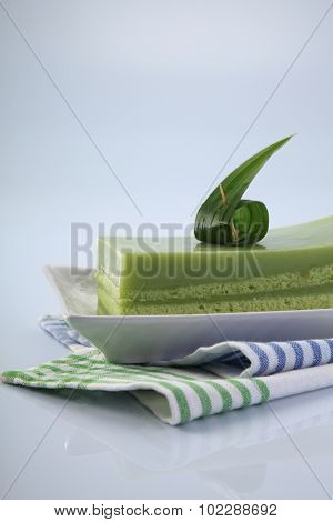 pandan layer cake on the  plate