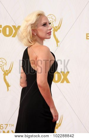 LOS ANGELES - SEP 20:  Lady Gaga at the Primetime Emmy Awards Arrivals at the Microsoft Theater on September 20, 2015 in Los Angeles, CA