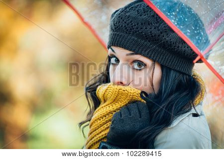 Sad And Cold Autumn Woman