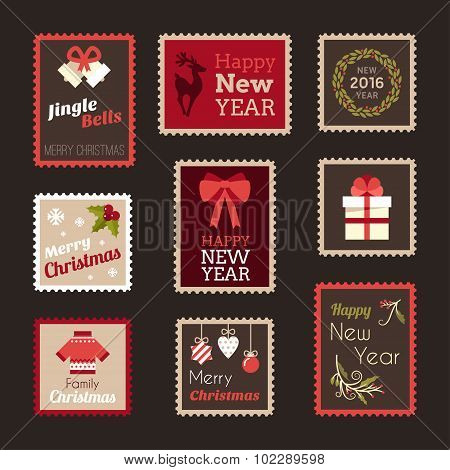 Set Of Christmas And New Year Postage Stamps. Vector Design Elements For Postcards And Scrapbook