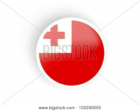Round Sticker With Flag Of Tonga