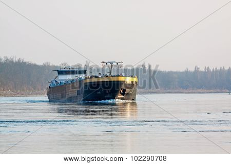Bulk-carrier Barge On Waterway River Rhine