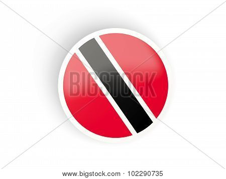 Round Sticker With Flag Of Trinidad And Tobago
