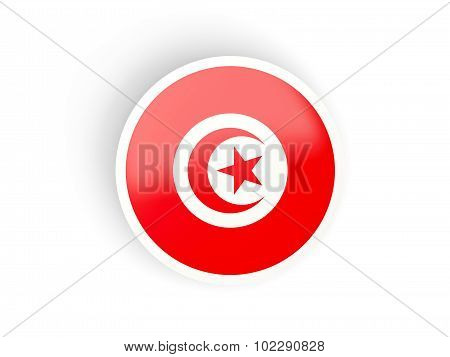 Round Sticker With Flag Of Tunisia