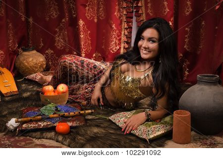 Beautiful Woman In The Arabic Harem Interior