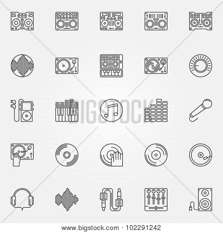 DJ linear icons set