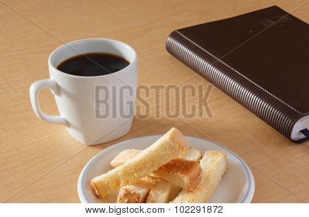 Cup Of Coffee  With Butter Bread