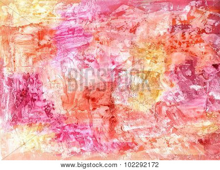 Abstract mixed media (acrylic and watercolor) vibrant background texture