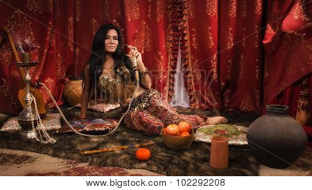 Beautiful Arabic Woman With Hookah