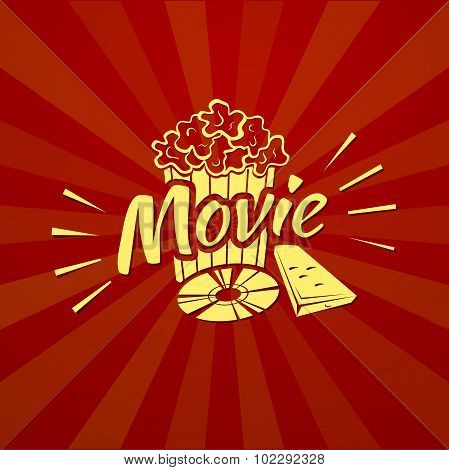 Watching a movie, vector typography