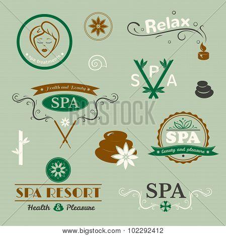 SPA logos, vector typography