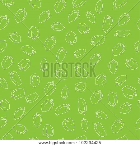 green bell pepper seamless pattern. food vector background