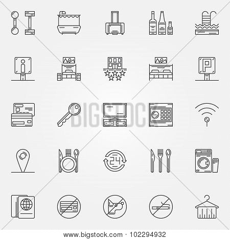 Hotel linear icons