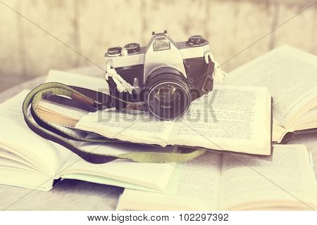 Old Photo Camera And Book, Vintage Photo Effect