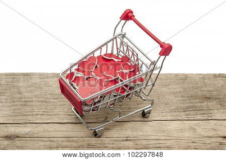 closeup of a shopping cart heart