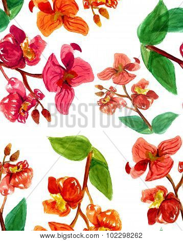 Seamless watercolour orchids pattern on white background
