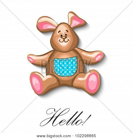 little bunny soft toy first birthday greeting card. Vector