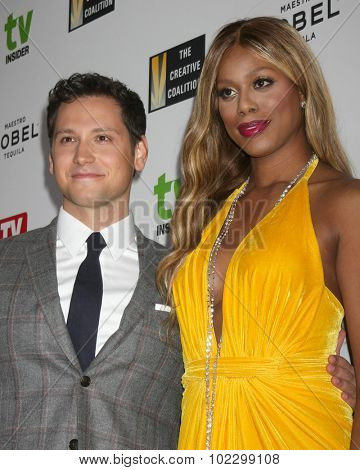LOS ANGELES - SEP 18:  Matt McGorry, Laverne Cox at the TV Industry Advocacy Awards Gala at the Sunset Tower Hotel on September 18, 2015 in West Hollywood, CA