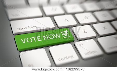 Online, computer or internet Vote Now concept with a green enter button on a white computer keyboard and the words - Vote Now - and a ticked check box icon, close up with blur vignette. 3d Rendering.