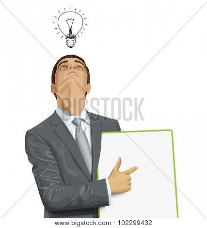 Vector businessman holding empty write board, looking up, looking for idea,