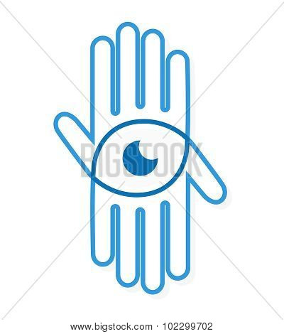 Vector logo hand with eye