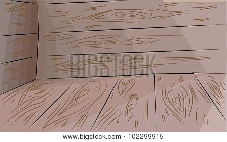 Wooden Floor And Walls