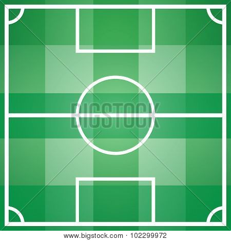Soccer Game Field Template With All Main Parts
