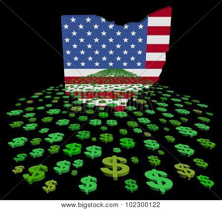 Ohio map flag with abstract dollars illustration