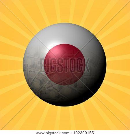 Japan flag Yen sphere on sunburst illustration
