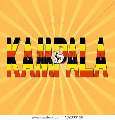 Kampala flag text with sunburst illustration