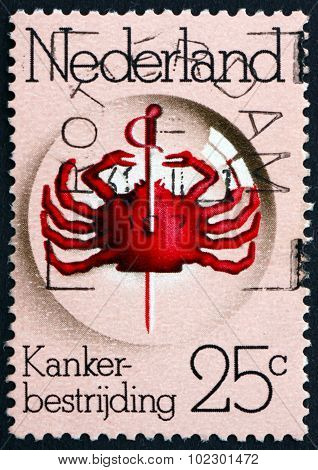 Postage Stamp Netherlands 1974 Pierced Crab Under Lens