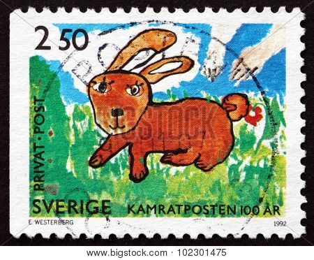 Postage Stamp Sweden 1992 Rabbit, Children's Drawing