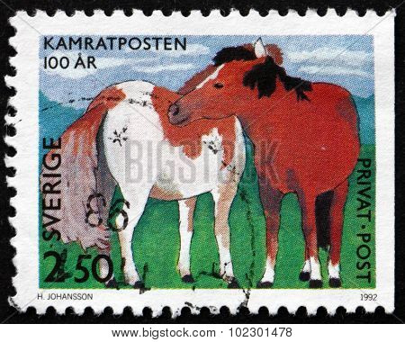 Postage Stamp Sweden 1992 Horses, Children's Drawing