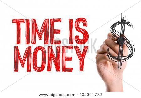 Hand with marker writing: Time is Money