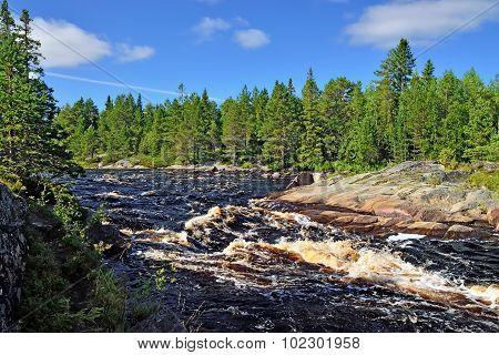 Threshold Morskoj On Pongoma River, Northern Karelia, Russia