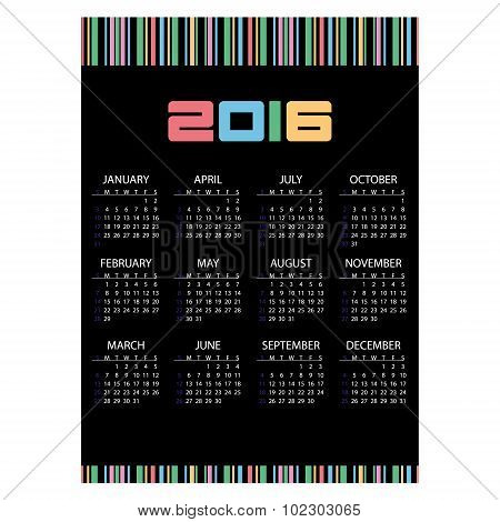 2016 Simple Business Wall Calendar Black And Color Stripes Eps10