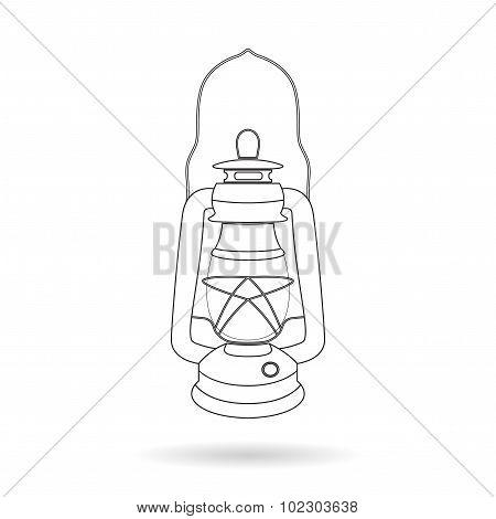 Vector Vintage Kerosene Lamp Over White