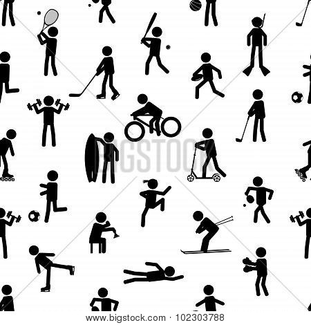 Sport Silhouettes Black Simple Icons Seamless Pattern Eps10