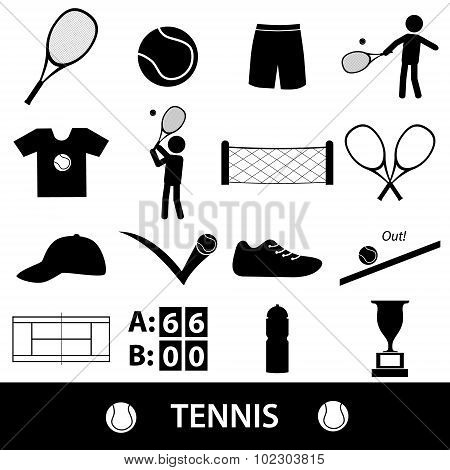 Tennis Sport Theme Black Icons Set Eps10