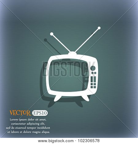 Retro Tv Mode Sign Icon. Television Set Symbol. On The Blue-green Abstract Background With Shadow An