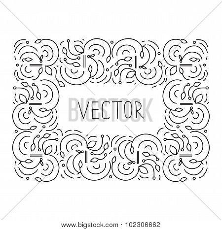 Hand drwan frame floral monogram design emblem template, Elegant lineart logo design, vector illustr