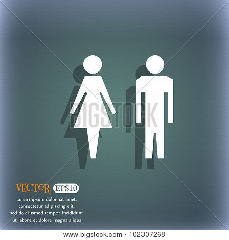 Wc Sign Icon. Toilet Symbol. Male And Female Toilet. On The Blue-green Abstract Background With Shad