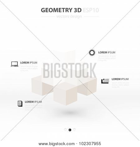 Geometry Abstract 3D Infographic And Icons Design White Color Style.