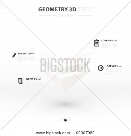 Pyramid  Geometry Abstract 3D Infographic And Icons Design White Color Style.