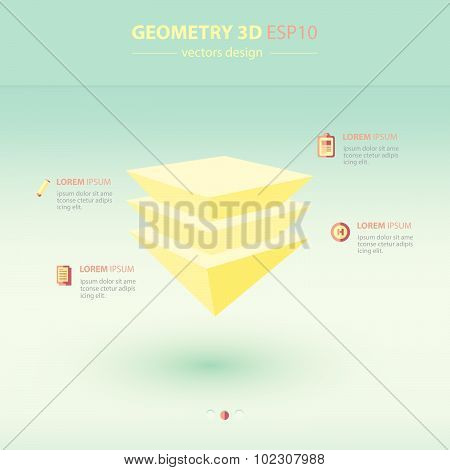 Pyramid  Geometry Abstract 3D Infographic And Icons Design.