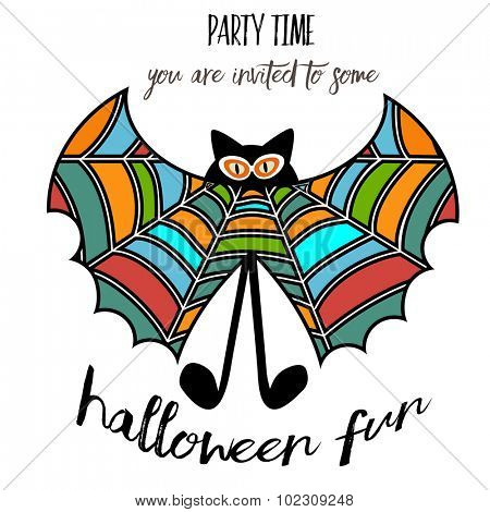Silly Halloween  Bat  with spiderweb wings and cat eyes (legs are separate)