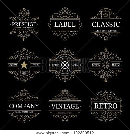 Set of retro vintage luxury logo templates