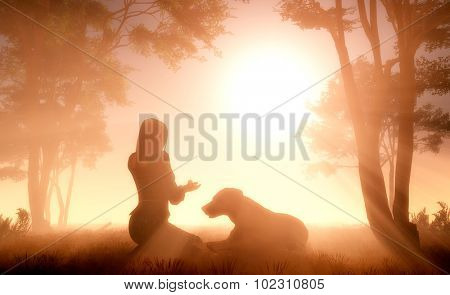 Girl and Dog in the Fog.