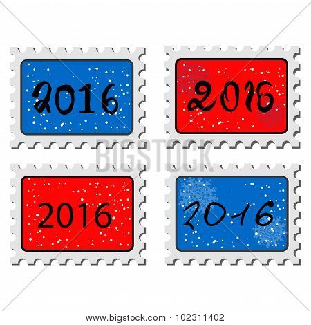 2016. New Year Stamps. Illustration Of A Stamp Icons With A 2016 Sign.